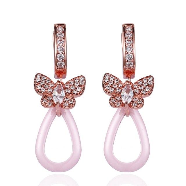 01ba130f266 Elegant Pink Ceramic Clip On Earrings Rose Gold Zircon Butterfly Ear Cuff  Big Hollow Water Drop Pink Ceramic Earrings For Women -in Clip Earrings  from ...
