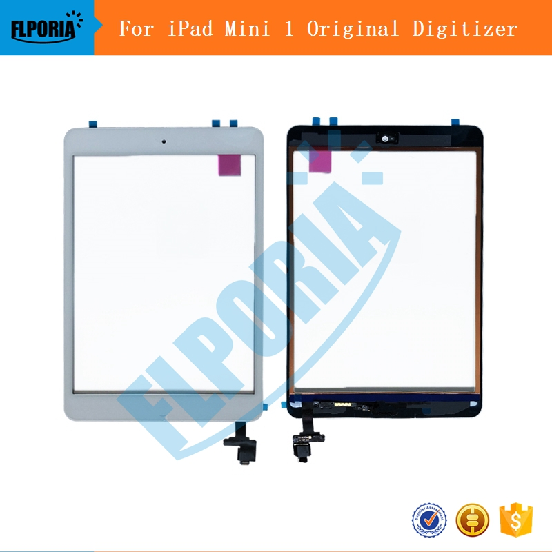 For iPad Mini 1 Touch Screen Digitizer Assembly With IC Conector Home Button Flex Cable Screen For iPad Mini 1 A1432 A1454 A1455 bqt replacement glsss screen for ipad mini1 mini2 touch screen digitizer without ic with tape parts 100