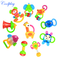 Coolplay 10pcs/Lots baby rattles baby toy 0-1 year old newborn teethers baby hand rattles combination Free shipping