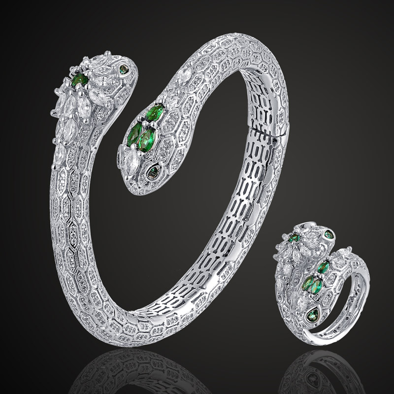Zlxgirl jewlery cute cool green Snake bangle & ring sets Europe Design Cubic Zircon Bangle Bijoux Love Bangles free bags giftZlxgirl jewlery cute cool green Snake bangle & ring sets Europe Design Cubic Zircon Bangle Bijoux Love Bangles free bags gift