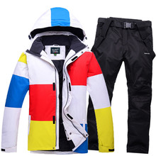 Winter Oudoor Men Ski Sets 2016 Waterproof Windproof Snowboard Jacket Thicken Breathable Snow Pants Male Thermal Warmth Skiwear