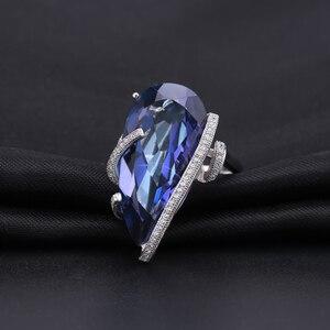 Image 2 - Mücevher bale 20Ct doğal Iolite mavi mistik kuvars yüzük 925 ayar gümüş Vintage kokteyl yüzükler kadınlar için güzel takı