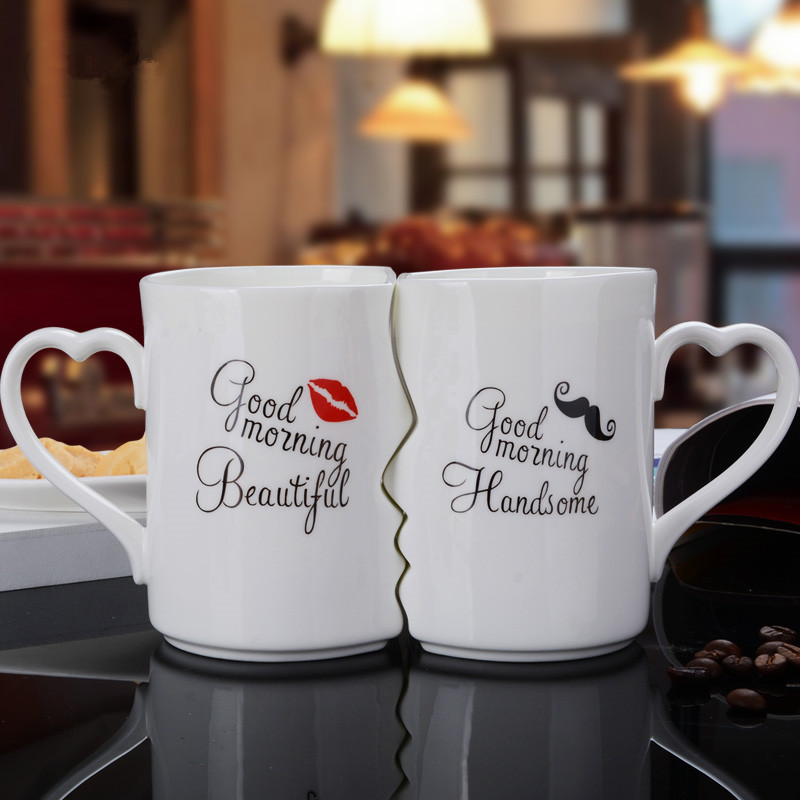 1 Pair Porcelain Tea Cup Gift for girlfriend boyfriend anniversary present wedding party favor valentines day gift gift for boyfriend on anniversary