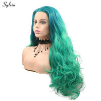 Sylvia Free Part Hair Ombre Malachite green Synthetic Lace Front Wig Women's Cosplay 2T Mermaid Color High Temperature Body Wave