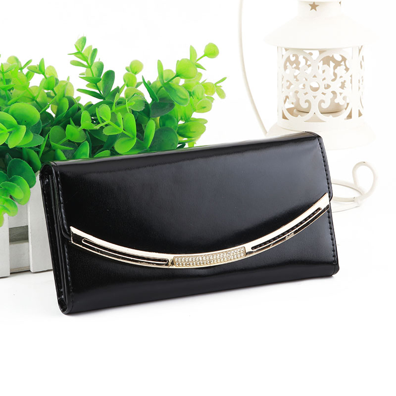ФОТО Top Brand Cow Leather Female Purse Glossy Black Woman Wallet Leather Genuine Party Sexy Ladies wallet porte monnaie femme marque