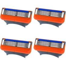 Fashion 4pcs/lot 5 Blades Men's Face care Sharpener safety blades shaving Razor Blades For Men shaver Razors NO package BO