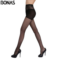 BONAS Sexy Nylon Tights For Girl Hollow Lace Waist Fashion Stretchy Spandex Pantyhose Women Thin Stockings