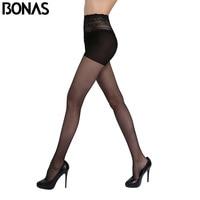 BONAS Sexy Nylon Tights For Girl Hollow Lace Waist Fashion Stretchy Spandex Pantyhose Women Thin Stockings