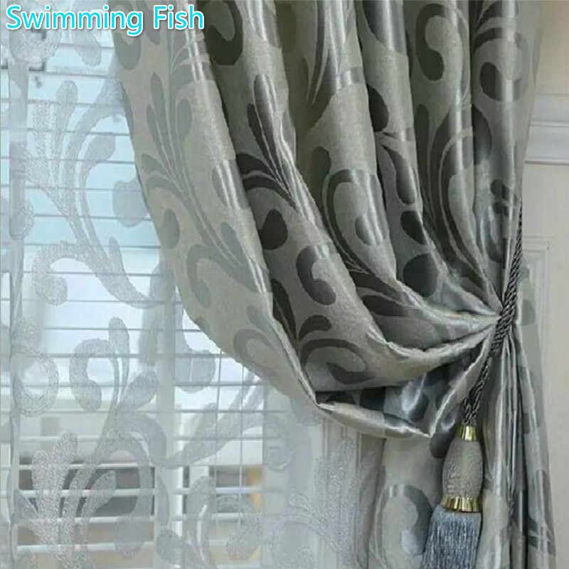 Home Deco Jacquard Curtain Thickening Blackout Cloth Curtain For Bedroom Living Room Window Blind Drape Hotel Curtain Tulle