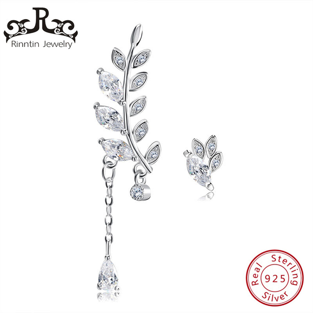 Rinntin 100% Sterling Silver Leaf Silver Color Stud Earring AAA Cubic Zircon Asy