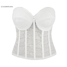 fbcba57a42 Charmian Sexy Women White Lace Bustier Corsets Bra Gothic Racer Bustiers Top  Corsets and Bustier Waist Crop Cincher Bra Top