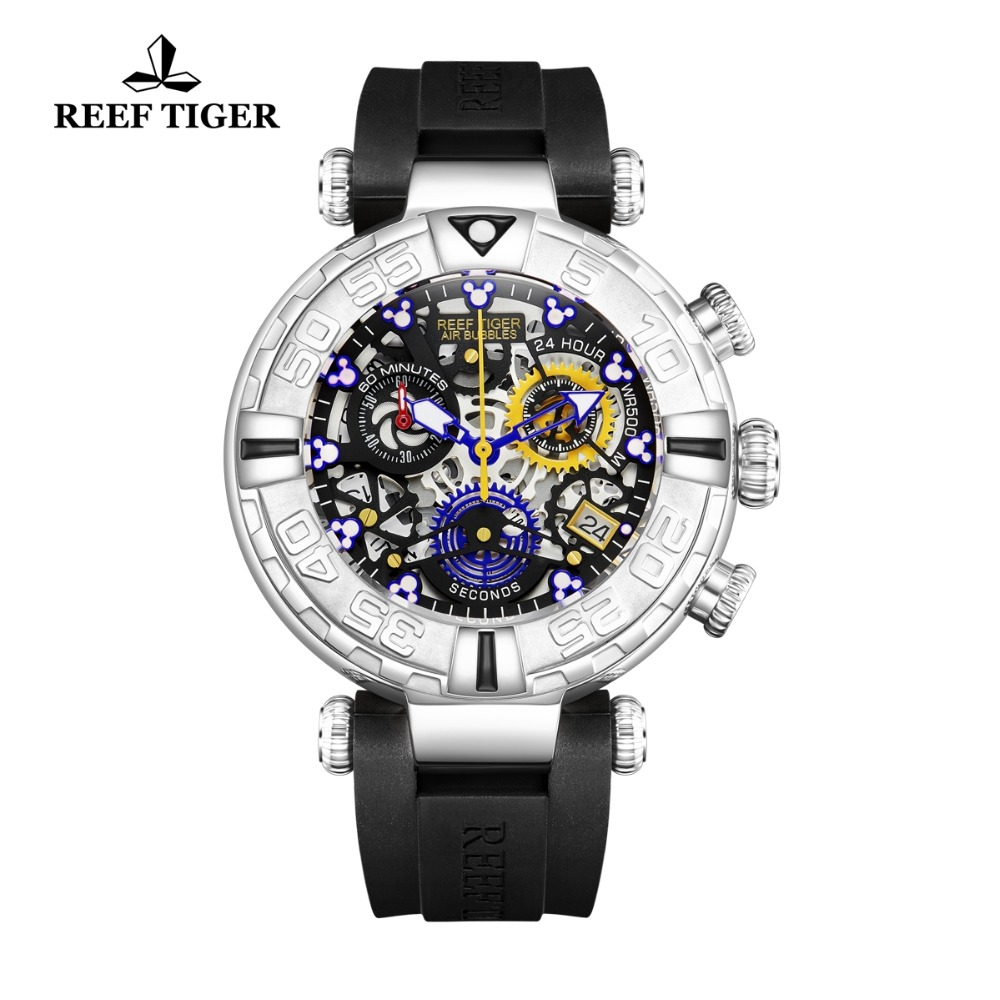 Reef Tiger/RT 2018 New Design Skeleton Sport Watches for Men Rubber Strap Blue Mickey Mouse Markers Steel Watch RGA3059-S
