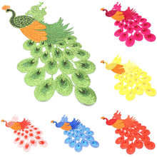 1PC Beautiful Peacock Birds Patch Craft Sewing Embroidered Iron On Applique DIY Clothing Accessories