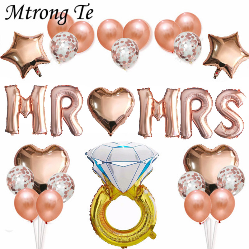 Hot Sale 31pcs 16inch Rose Gold Letter Balloons Mr Mrs Foil Balloon