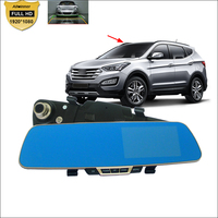 For Hyundai I20 Santa Fe Car DVR Blue Screen Rearview Mirror Video Recorder Car Dual Camera