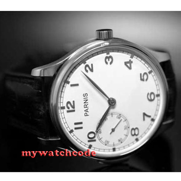 44mm parnis white dial ST 6497 Mechanical ST manual wind stainless steel case mens watch P87