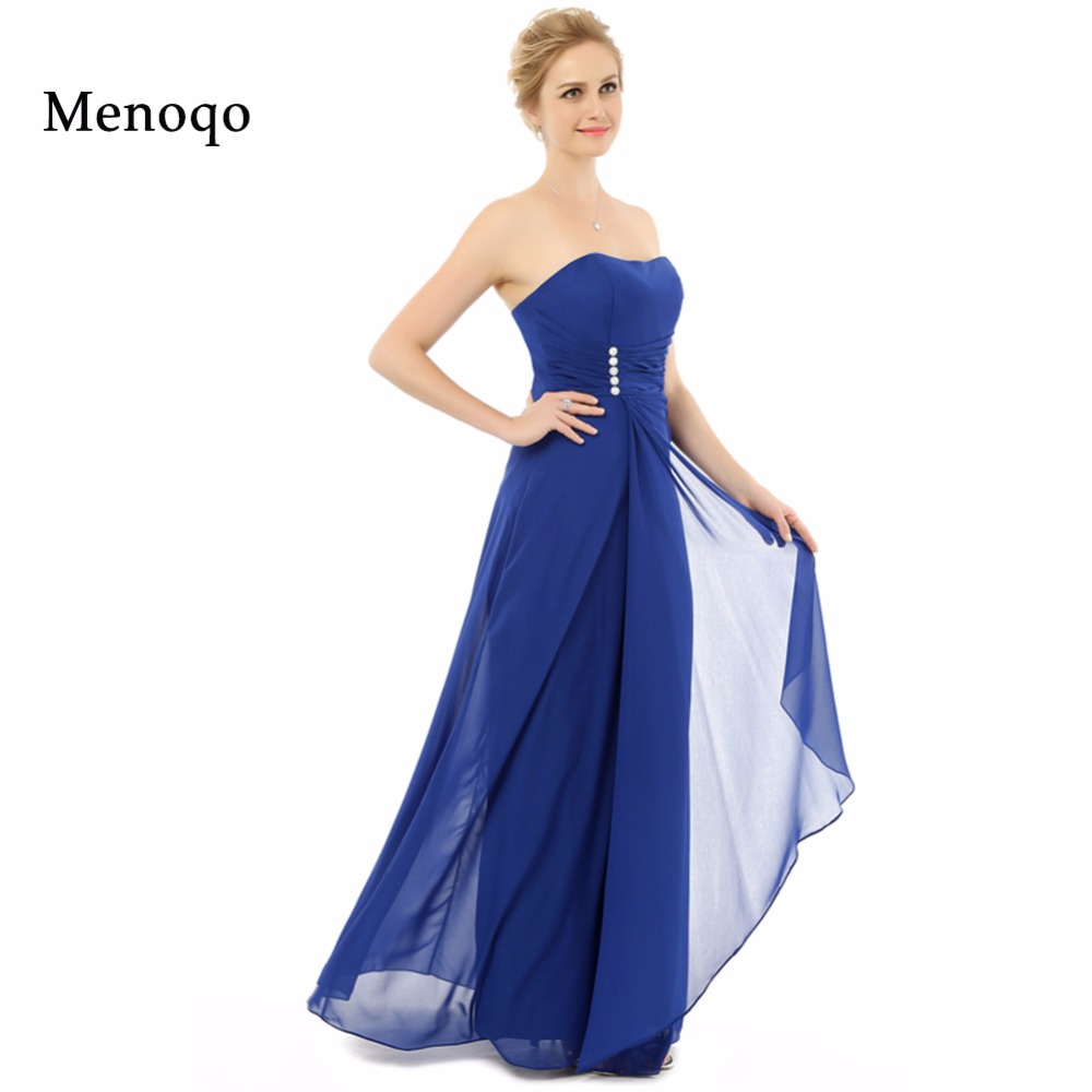 Abendkleider A Line Strapless Chiffon Floor Length Long Simple Plus Size Royal Blue Prom Dress Real Sample Evening Dresses