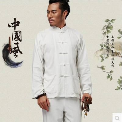 50c358df7f Long Sleeve Cotton Traditional Chinese Clothes Tang Suit Top Men Kung Fu Tai  Chi Uniform Fall Autumn Shirt Blouse Coat for Men
