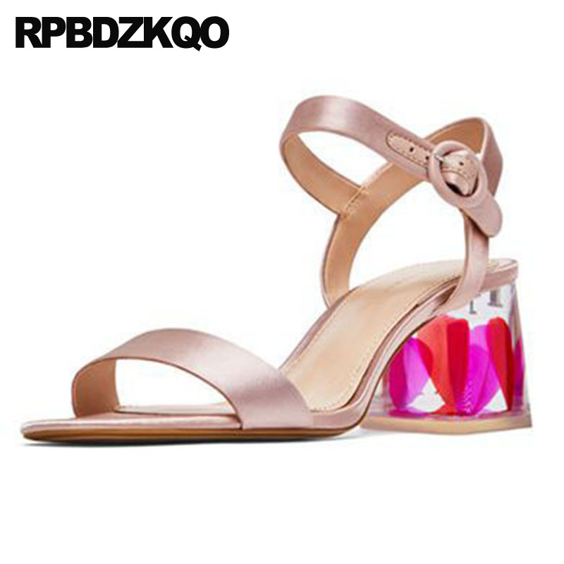 Thick Pumps Women Double Strap Sandals Slingback Gold Perspex Chunky  Wedding High Heels Satin Shoes 2018 Glass Transparent Nice