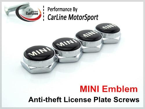 union jack checked badge chrome anti theft license plate frame screws stainless steel bolt holder - Mini Cooper License Plate Frame