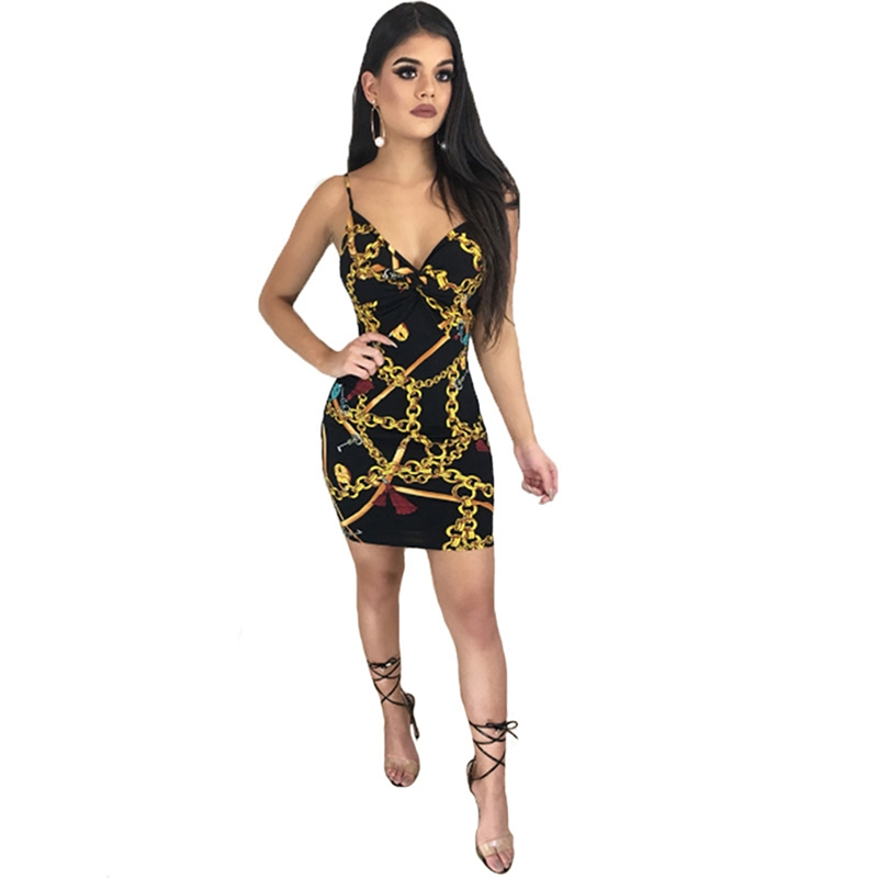2c85d02401 Aliexpress.com   Buy 3D Golden Chain Mini Dress Deep V Tight Package Hip  Sling New Hipster Low Cut Women s Sexy Nightclub Dress from Reliable Dresses  ...