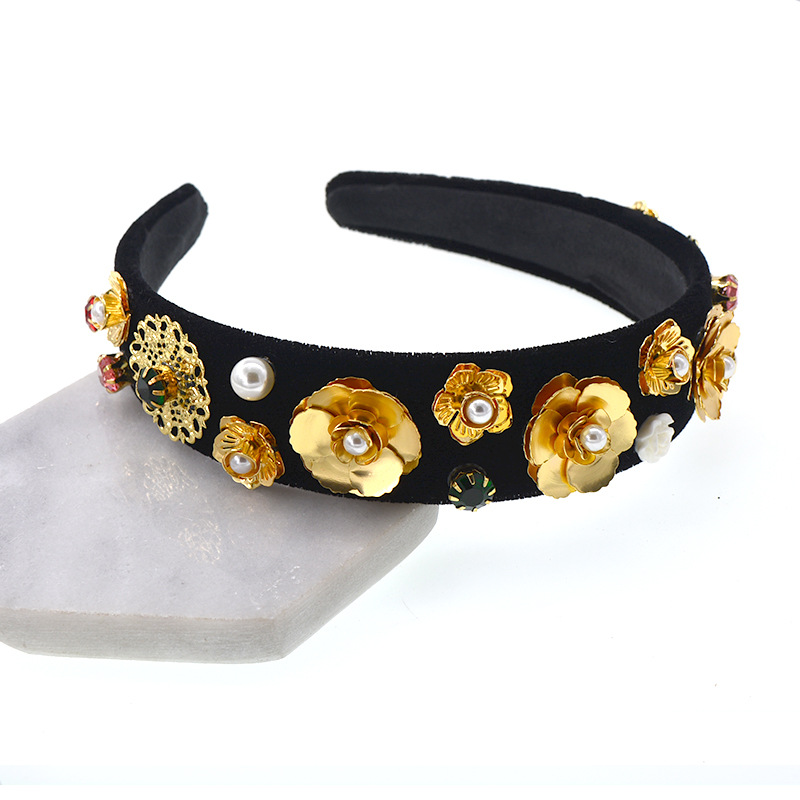 New Baroque Rhinestones Pearl headband for women Hair Jewelry gold Pierced Engraved Flower Headwear Hair Accessories in Hair Jewelry from Jewelry Accessories