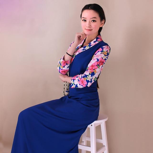 c1b47ef3967 Nouveau Tibet vêtements femme cangpao occidental tibétain Amdo vêtements  couleur correspondant haute qualité femme bourette Bora