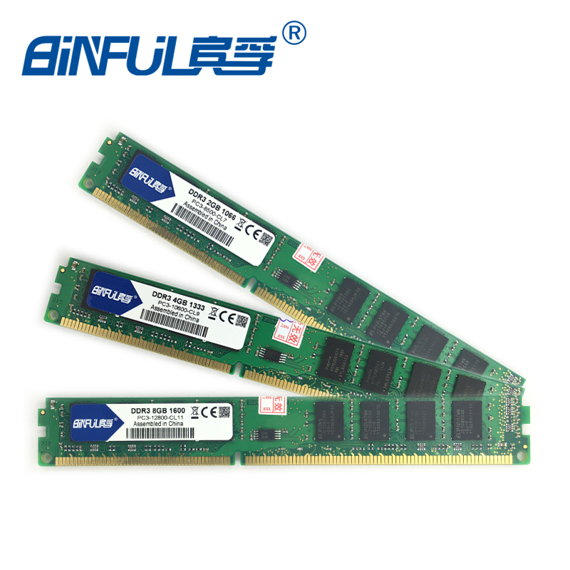 Binful Original New Brand DDR3 4GB 1333mhz PC3-8500 10600 12800 1066mhz 1600mhz for Desktop RAM Memory 240pin Lifetime Warranty