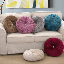 Dia.35cm 4colors pleuche button on the middle pumpkin round cushion with high elastic polyester fiber filling Free shipping