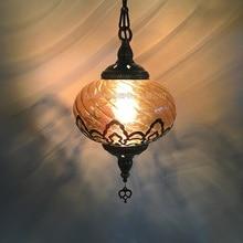 הכי חדש סגנון טורקיה אתני מכס חלול גילוף מנורת בית קפה רומנטי מסעדה בר עץ תליון אור לייעל זכוכית תאורה