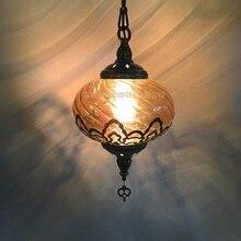 Lámpara tallada hueca estilo étnico turco, romántica, cafetería, restaurante, bar, árbol, luz colgante, iluminación de vidrio aerodinámica