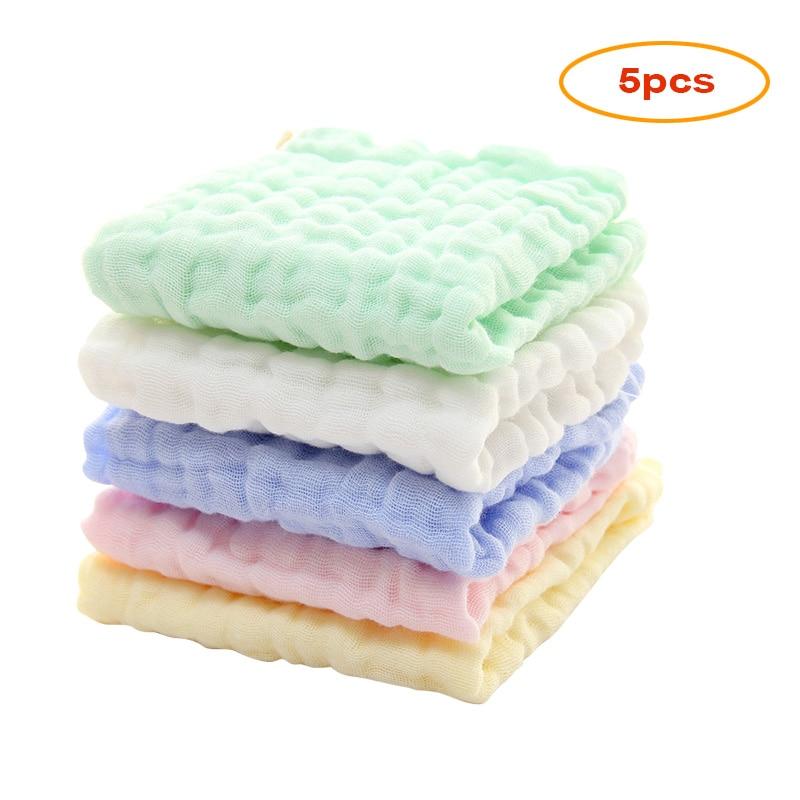 5pcs Baby Muslin Washcloths Natural Muslin Cotton Baby Wipes Newborn Baby Face Towel muslin Towel Handkerchief Wipe Towel