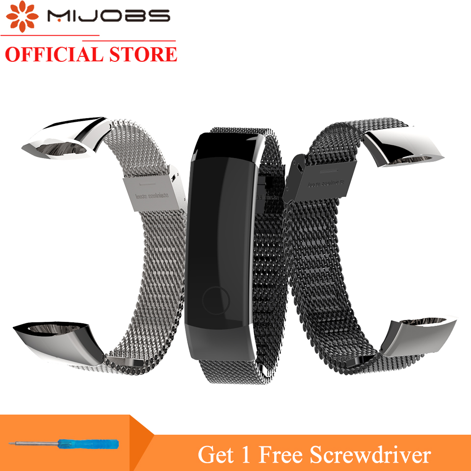 Mijobs Milanese Metal Strap 155-255mm Watch Band Wristband Stainless Steel Bracelets for Huawei Honor 3 Band Smart Accessories for huawei honor 3 wrist band strap sport bands milanese stainless steel band quick release smart bracelet for smart watch ja08