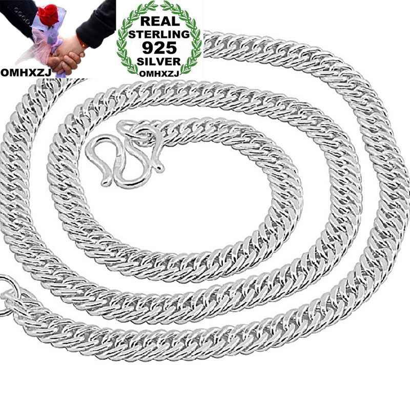OMHXZJ Wholesale European Fashion Man Party Wedding Gift Wide 925 Sterling Silver Chain Necklace NA186