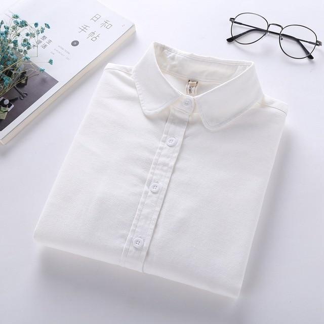 Brand Women Blouses 2018 New Girlfriend Shirt Casual Long Sleeve Cotton Oxford Women Shirts Simple Blusas Solid Blouse Clothes Women Shirts