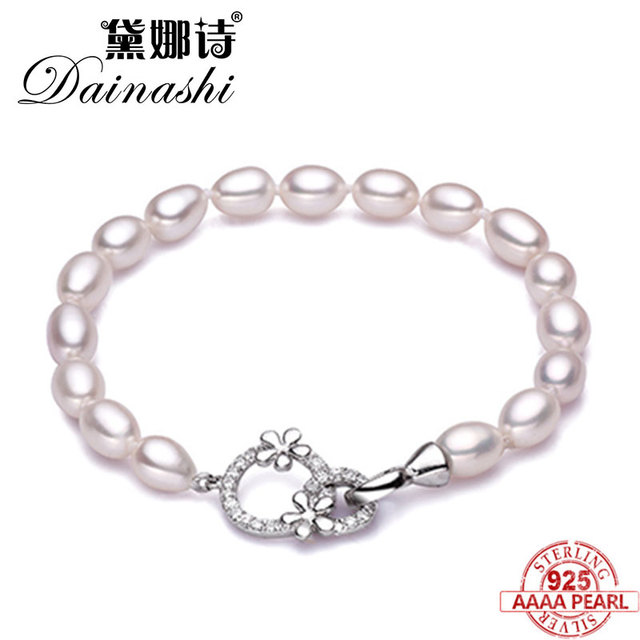 1f58b16623c2 Dainashi nupcial natural agua dulce perla pulsera del encanto pulsera de  moda joyería de perlas blanco