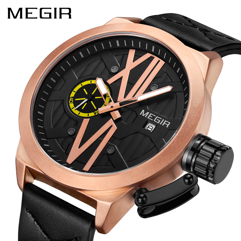 Creative MEGIR Brand Sport Watch Men Fashion Army Military Wrist Watches Clock Men Relogio Masculino Quartz Wristwatches 1078 2017 new top fashion time limited relogio masculino mans watches sale sport watch blacl waterproof case quartz man wristwatches