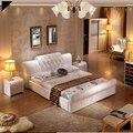 Cama macia de couro genuíno moderno contemporâneo em tufos de diamante China mobília do quarto branco