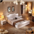modern genuine leather soft bed contemporary diamond tufted bedroom furniture China white