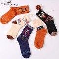 2017 el nuevo encanto 3d animales de impresión calcetines altos para las mujeres chica autunm invierno cartoon cat engrosamiento de lana calcetín caliente femme