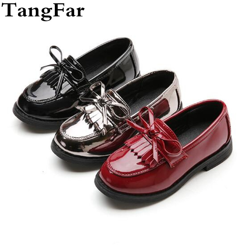 Children Shoes Baby Girls Leather Shoes Princess Bowtie Kids Loafers Fringe Platform Toddler Wedding Moccasins Shoes