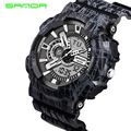 Moda Super Cool dos homens de quartzo de LED Digital analógico homens relógio relógios desportivos SANDA marca de luxo militar relógios de pulso à prova d ' água