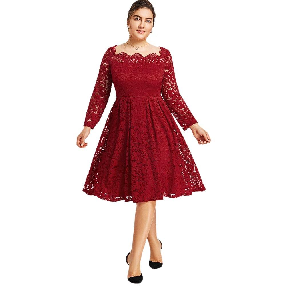 Gamiss Women Party Dress Plus Size 5XL Square Neck Lace ...