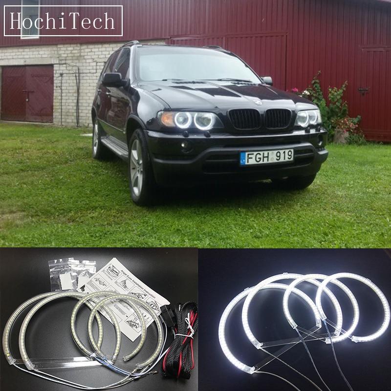 HochiTech Ultra bright SMD LED Angel / demon Eyes led headlight halo ring kit day light white for Bmw E53 X5 1999-2004 цена