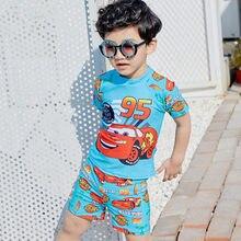 Crianças Dos Desenhos Animados de Duas peças Swimwear Crianças Menino Maiô  Beachwear Trajes de banho Da Criança com uma tampa pa. b27a0bcde3c