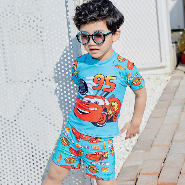 f216456571b95 Kids Cartoon Two pieces Swimwear Boy Swimsuit Children Bathing Suits  Toddler Beachwear with a cap for 2-11 Years Old
