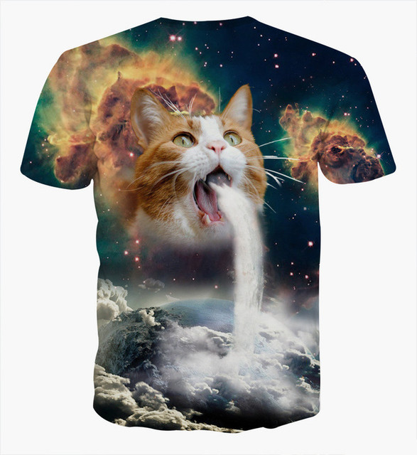 3D T-Shirt Cat Vomiting A Waterfall