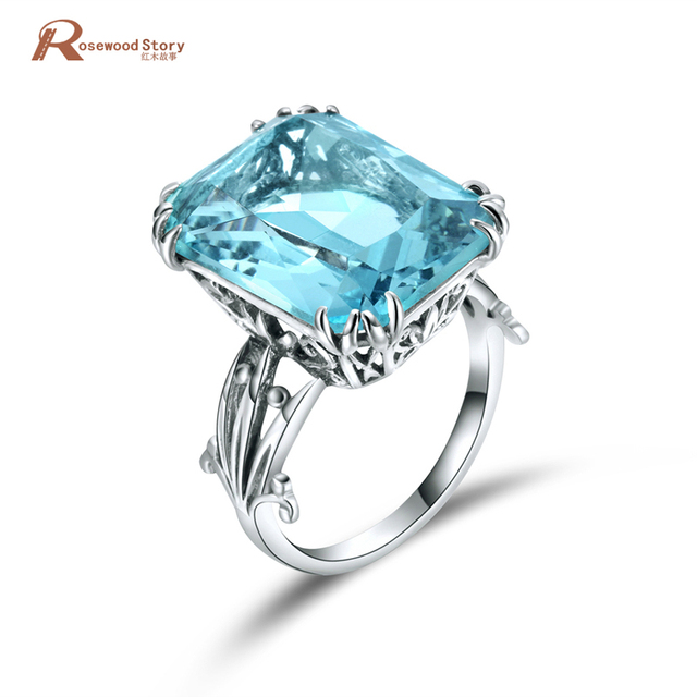Luxury Square Charms Handmade Vintage Women's 925 Sterling Silver Birthstones Sky Blue Crystal Wedding Ring Brand Jewelry