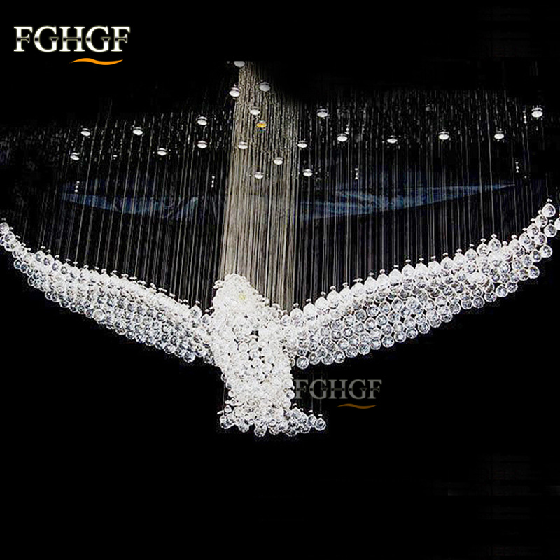 New Design Luxury Modern Crystal Chandelier Light Lustres Eagles Hall Cristal Lamp Home Lighting for Ceiling Lamp Fixture crystal chandelier led ceiling light fixture modern crystal lustres lighting fixture long k9 crystals ceiling lamp for stairs
