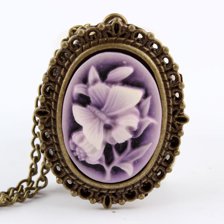 Chic Vintage Pocket Watch Purple Rose Flower Bronze Quartz Beauty Womens Watch Necklace Chain Pendant Gifts Relogio Feminino